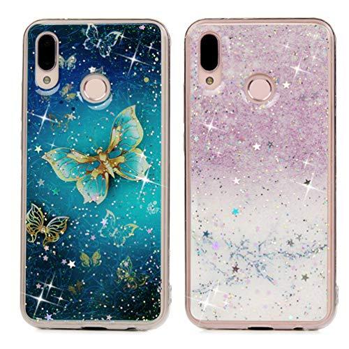 [2 PCs] Huawei P20 Lite Hülle, Rückschale Glänzend Weich TPU Bumper Durchsichtig Slim Handyhülle Transparent Schutzhülle Floating Gepresst Handtasche See Through Glitter Cute Case - Marmor -