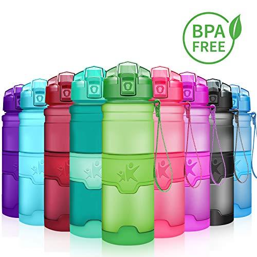 KollyKolla Trinkflasche, BPA-frei Auslaufsicher Sport Wasserflasche, 700ml Tritan Sportflasche Kohlensäure Geeignet Kunststoff mit Filter für Kinder, Schule, Mädchen, Fahrrad, Gym, Mattgrün