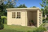 Carlsson Garten Blockhaus MARIA-28 COMPACT - Holz Gartenhaus mit Tür & Echtglas Fenster - Massivholz Blockhütte mit Pultdach, ohne Imprägnierung