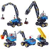 iVansa 5er Set Mini Legierung Bagger Lastwagen Autos Set Fahrzeugset, Engineering Fahrzeuge Bausteine, Kleinkind Baustelle Spielzeug ab 3 Jahren