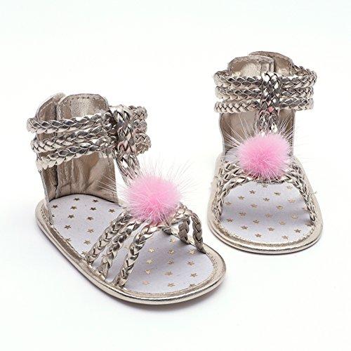 Wongfon Sommer Mädchen Sandalen Baby Ball stricken Baby Sandalen PU Kleinkind Schuhe