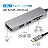 USB C Hub, Type C Hub With 5 in 1 Multi-port Adapter, 4K HDMI Output, SD & TF Card Reader, 2 USB 3.0 Ports Portable for MacBook Pro 2015/2016/2017 New MacBook, Chromebook, Samsung S8 and More.