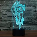 Acrylique 7 couleurs changeantes stylo dragon led veilleuses 3d LED lampe de table de bureau lumière USB 5V décor d'ameublement, commutateur tactile