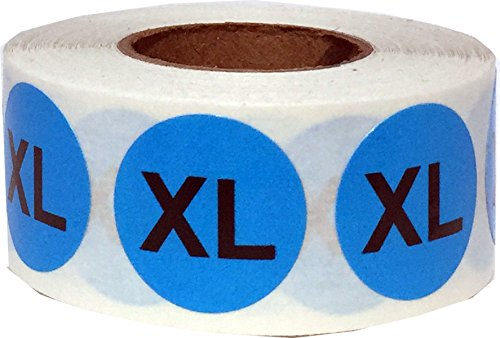 Azul Circulo Extra Grande XL Talla de Ropa Pegatinas, 19 mm 3/4 Pulgada Redondo, 500 Etiquetas en un Rollo