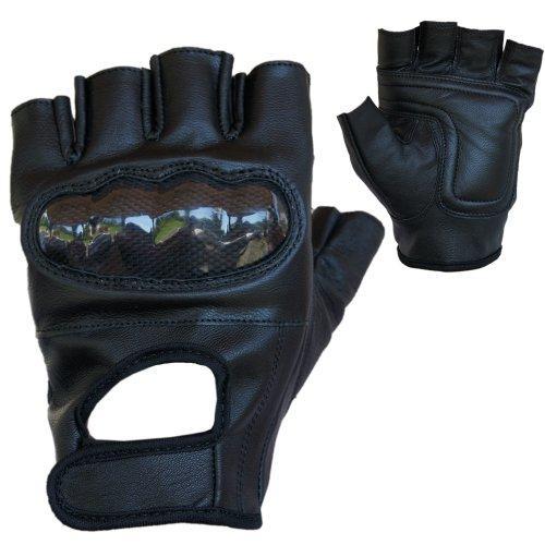 Motorradhandschuhe PROANTI® Leder Chopper Handschuhe mit Protektor (Gr. S-XXL, schwarz) - XL
