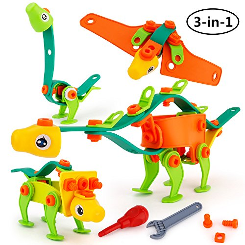 SONi Dinosaur Toys 81 PCS Assembled Building Block DIY Screw Toys Set of 4 Different Dinosaurs Educational Toys for Preschool Kids Boys and Girls.