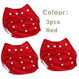 #2: FunBlast (Pack of 3) Reusable and Adjustable Baby Diapers, Children Cloth Diaper, Reusable Nappies Adjustable Diaper Cover Washable , Available in Different Color (3 Pcs - Red)