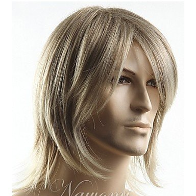 HJL-courte blonde cheveux raides synth¨¦tique meilleur choix Livraison gratuite perruque hommes de qualit¨¦ de haut homme de qualit¨¦