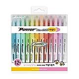 Subrayadores mágicos color arcoíris pastel con punta de cincel, color Power Line mild 12 colors set
