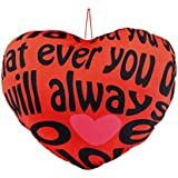 Ultra Valentine Heart Shape Printed Cushion Pillow Red With Love Message