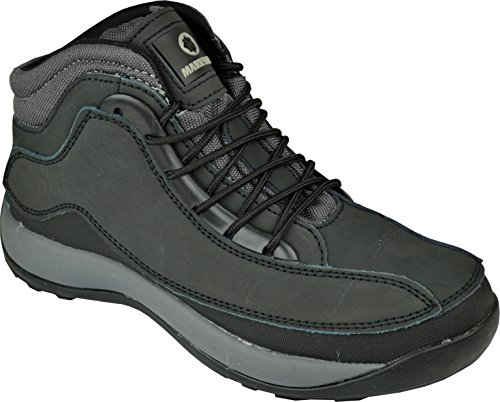 BARGAINS-GALORE Mens Black Safety Trainers Shoes Boots Work Steel Toe Cap Hiker Ankle 6UK - 13UK