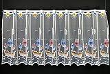 Scheibengardine für Kinder Piratenschiff 60 cm hoch | Breite der Gardine durch gekaufte Menge in 24,5 cm Schritten wählbar (Anfertigung nach Maß) | weiß mit bunt | Vorhang Küche Wohnzimmer