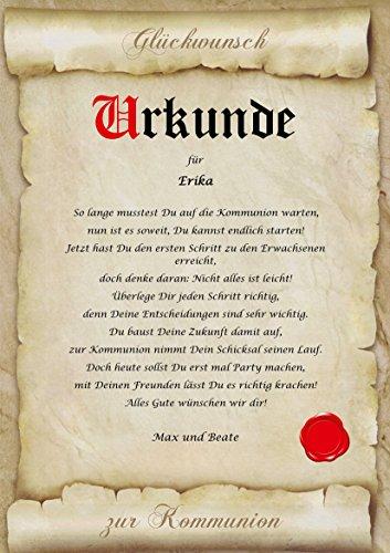 Urkunde personalisiert Geschenk Karte zur Kommunion Pergament A4 Papier Motive