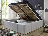 Polsterbett Bett mit Bettkasten 160x200 Weiß XXL Nelly Lattenrost Doppelbett Kunstleder
