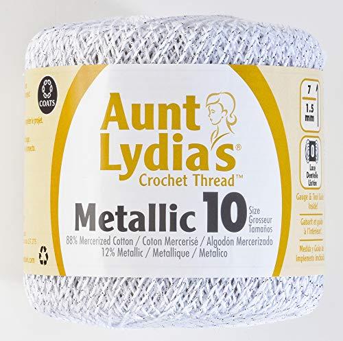 Aunt Lydia's Metallic Crochet Thread Size 10-Silver & Silver