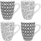 COM-FOUR® 4x Kaffeebecher aus Keramik im Skandinavischen Design, Kaffeetasse in grau und creme, Ø 8,5 cm, 10,8 cm hoch, 290 ml (04-teilig - Kaffeebecher)