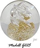 Traumkugel- Briefbeschwerer groß: Motiv klare Spirale (Feng Shui) mit goldenen Splittern