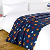 Dreamscene Star Fleece Blanket, Navy Blue, 120 x 150 Cm