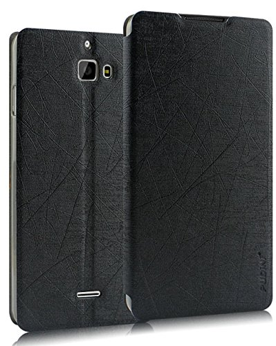 Pudini® Yusi Rain Series Leather Flip Cover Stand Case for Micromax Canvas Nitro A310 / A311 - Black