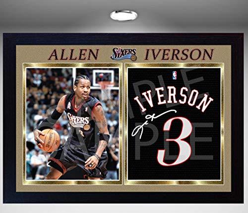 SGH SERVICES NEU! Gerahmter Foto-Nachdruck, Motiv Allen Iverson Philadelphia 76ers Sixers mit Autogramm und Autogramm