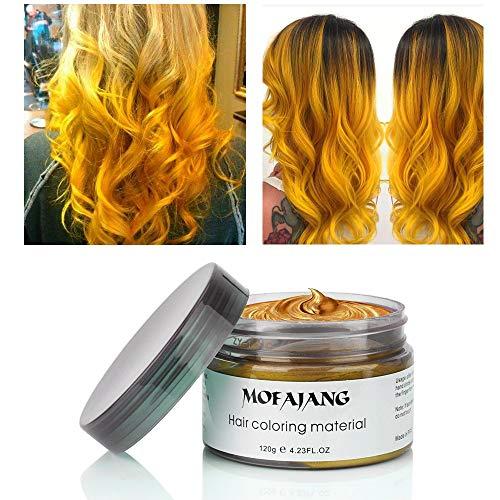 chs, MOFAJANG Haarfarbe Wachs Haarcreme Styling-Haarwachs Männer und Frauen Haar Pomaden, Feuchtigkeitsspendende Modellierung Fluffy Matte Haar Schlamm Creme- Golden ()