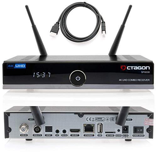 Octagon SF8008 4K HDR UHD Sat-Receiver mit Kabel DVB-T2 Tuner H.265 E2 Linux Dual WiFi DVB-S2X & T2C Combo
