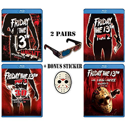 Friday the 13th Movie Franchise Parts 1-4 Extreme Blu-ray Collection + Bonus 2 Pair 3-D Glasses + Sticker & Loaded w/ Special Features!