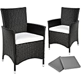 TecTake 2 x Poly rattan garden chairs ALUMINIUM FRAME armchair set + cushions + 2 sets for exchanging the upholstery, stainless steel screws - different models - (Black)