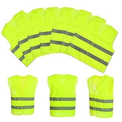 Baytter 5x 10x Auto Warnweste Set Unfallweste Pannenweste Sicherheitswarnweste EN 471 mit Reflektorstreifen und Klettverschluss , gelb orange wählbar, Standardgröße