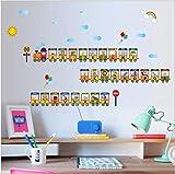 Alfabeto inglés de dibujos animados decoración de tren pequeño habitación infantil pegatinas de pared extraíbles 125 * 76 cm
