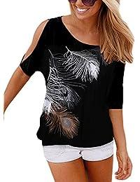 Isassy classiche da donna Loose piuma stampato off spalla top t-shirt camicetta