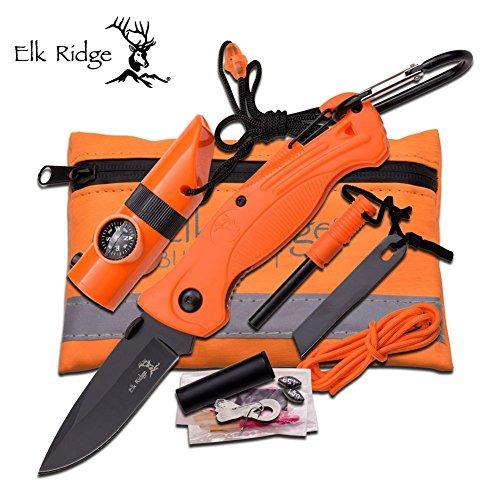 Elk Ridge SURVIVAL KIT Taschen-Messer LED-Lampe Kompass Angel-Set u.v.m. ER-PK4