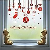jiuyaomai Merry Christmas Bell Chaussettes Amovible Home Window Stickers Muraux Decal Decor DIY Vacances Murale Murale 43x50cm