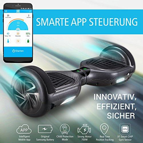 """Bluewheel 6.5"""" Hoverboard HX320 mit UL2272 Sicherheitsstandard - Testsieger mit App – Kinder Sicherheitsmodus – Bluetooth Lautsprecher – 700W Motor – LED - Elektro Scooter Self-Balance E-Skateboard"""