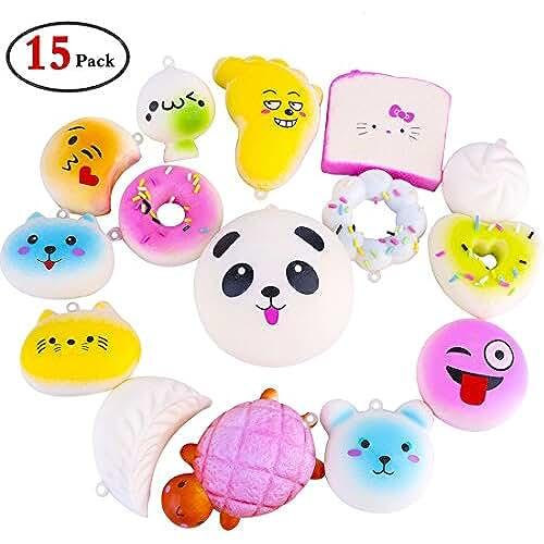 juguetes kawaii Gemoor Squishy Lento Levantamiento Squishies Juguetes Kawaii Suave Pan Llavero Teléfono Celular Encanto (15 piezas)