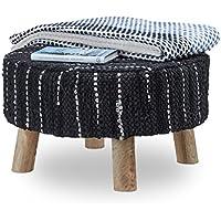 Preisvergleich für Relaxdays Hocker schwarz gepolstert, Sitzhocker mit Echtleder-Bezug, Fußhocker rund, Mangoholzbeine massiv, HxD 33x56 cm
