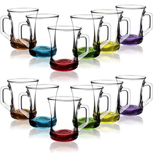 COM-FOUR® 12-teiliges Trinkgläser Set, Tee- / Kaffee- / Cappuccino-Glas, spülmaschinenfest (Set4-12 Stück/Teeglas farbig) - Trink Gläser Wasser