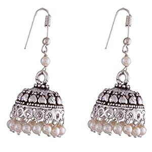 Ganapathy Gems White Metal Jhumki Earring For Women