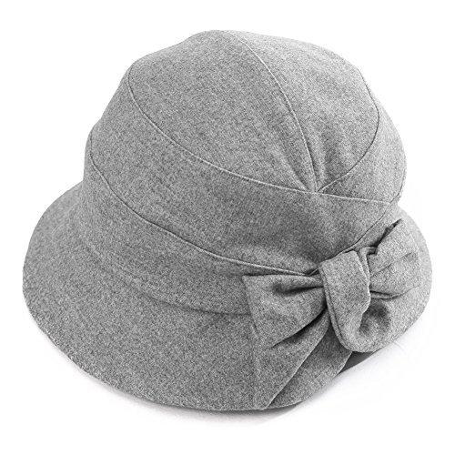 Damen weiche Glockenhut 1920s Vintage faltbarer Cloche Bucket Hut SIGGI Grau (Cloche Bucket)
