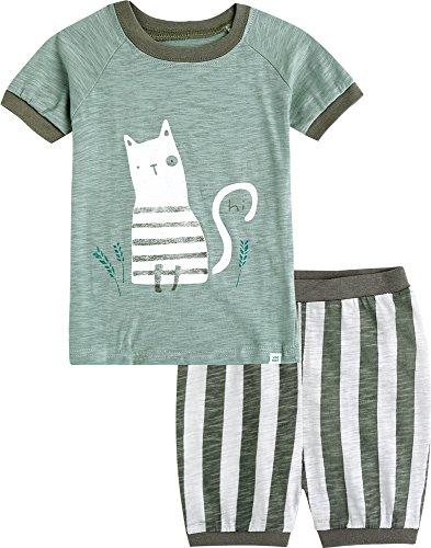 Vaenait Baby 74-110 Säuglings Kinder Jungen 2pcs Bekleidungssets Schlafanzüge Green Cat M