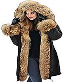 Aofur Femme longue à capuche épais Hiver Chaud fourrure Parka blouson Grande taille Manteau en Veste matelassée (XXX-Large, Vert)