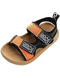 Topgrowth Sandali Bambino Ragazzo Ragazza Cuoio Suola Morbida Sneaker Casual Spiaggia Chiusa Sandali Unisex per bambini (21, Giallo)
