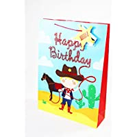 Large Gift Bag Kids Boys Cowboy Cute Foil Birthday Present Wrapping Him Tag