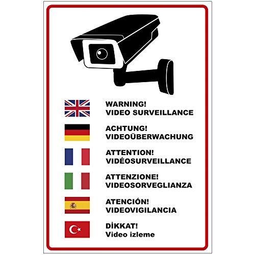 """'Cartel """"Atención Videovigilancia En Varios idiomas de aluminio/Dibond 200x 300mm, 3mm de grosor"""