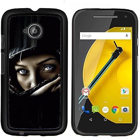 Cubierta protectora del caso de Shell Plástico || Motorola Moto E ( 2nd Generation ) || Casco del polluelo del motorista muchacha mujer Negro @XPTECH