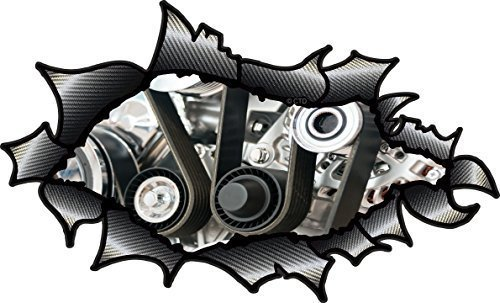 OVAL GERISSENES OFFEN ZERRISSEN KOHLEFASER FASER Wirkung Design Mit Rennen Motor Detail Im Inneren V8 V12 Frisiertes auto Motiv Vinyl Auto Aufkleber 150x90mm (Rennen Wirkung)