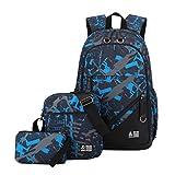 YoungSoul Sets de útiles escolares, Mochilas escolares + Bolsa de hombro + Estuches, Mochila de viaje lona estampadas carteras colegio juveniles Azul Gris