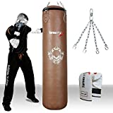 TurnerMAX Genuine Cowhide Leather Boxing Punch Bag Heavy FILLED with Free Chain and Bag Gloves Kickboxing punching bag Natural (4 Feet)