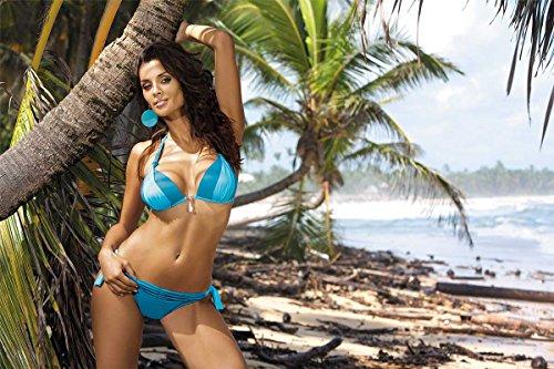 Marko Amber M-260 bezaubernder Bikini-Set, Neckholder, Top Qualität, Made in EU Blau-Hellblau