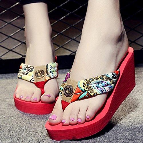 ZHANGRONG-- Pente avec des chaussures de plage Personnages à talons hauts glissent les pantoufles d'été Colliers de sandales épaisses Pieds antidérapants pantoufles de table imperméables Chaussons Mat D
